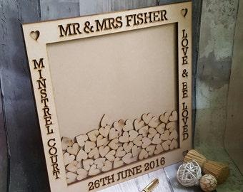 Small Wedding Drop Box Style Wedding Guest Book Alternative, Drop Top Box Guestbook, Custom Heart Dropbox Frame