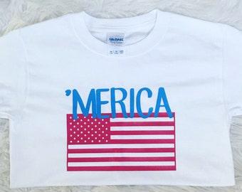 Merica Flag 4th of July boys shirt