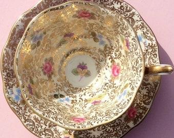 Pretty Pink Addiction-and Mauve-Rare Royal Albert Princess Series Teacup and Saucer