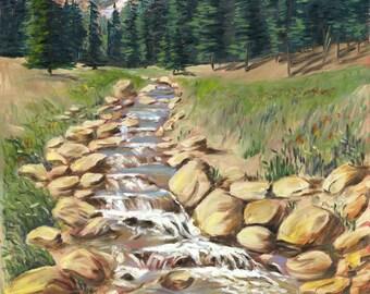 """Rocky Mountain Stream  20"""" x 16"""" by Jan"""