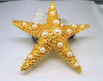 Vintage Detailed Starfish Brooch With Pearls Goldtone