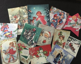 BB59 -- Lot of 13 Vintage CHRISTMAS Greeting Card Die Cuts for Card Making Free Shipping