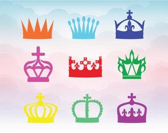 Crown SVG - crowns clip art -Crown Silhouette Cutting File Set - Royal crown clipart svg - Queen King Princess Prince Silhouette Cut File -