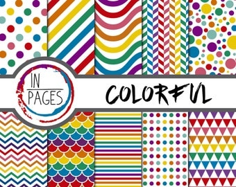 Colorful Digital Paper Patterns Backgrounds Scrapbooking by inPagesMx