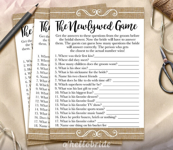 Bride And Groom Questionnaire: The Newlywed Game Bridal Shower Game What Did The Groom Say