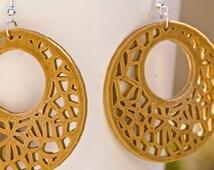 3D printed circular earrings in wooden PLA-PLA 3D printed Earrings and wood fibers