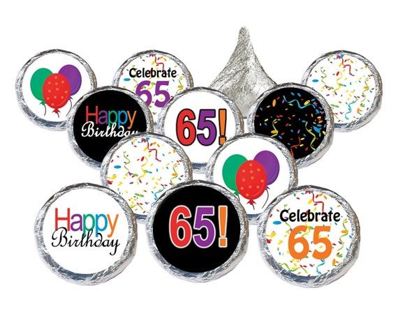Happy 65th birthday party favor sticker decorations by for 65th birthday party decoration ideas
