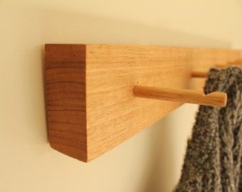 Coat Rack, Wall Mounted, Entryway Furniture, Solid Wood