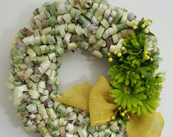 Green & yellow curly paper wreath