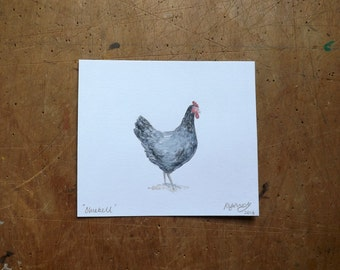 "Original Watercolour Chicken Painting ""Bluebell"""
