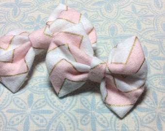 Pink, White And Gold Fabric Hair Bow, Pink Bow, Fabric Hair Clip, Fabric Bow, Pink Hair Barrette, Girls Pink Fabric Bow