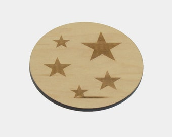 Wooden 'STAR' Coasters - Set of 4