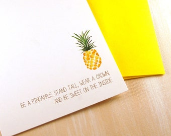 Personalized Flat Note Card Stationery Set for the Home, Pineapple, Housewarming Gifts, Wear a Crown, Stationary Set, Set of 12