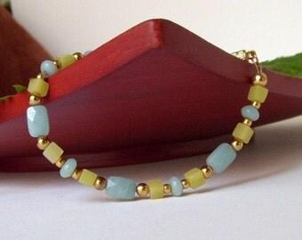 Bracelet, Amazonite and Olive Green Serpentine Bracelet, B79
