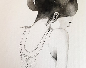"Original art, watercolor, wall art, figure studies, ""Solemn Girl"""