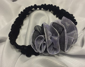 Girls Baby Black and White Sheer Headband