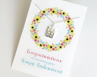 LDS Temple Endowment Gift Necklace with Pretty Backer Card: Congratulations on Your Temple Endowment