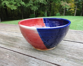 "7"" Red/Blue Handmade Ceramic Bowl - Stoneware"