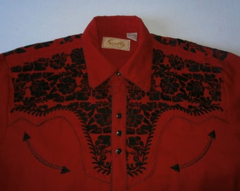 Red Scully Shirt Embroidered Black