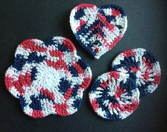 Red White and Blue, Coasters, Trivets, Crochet, 100% Cotton, Handmade