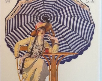 Vintage Magazine Cover, Giclee Print, May 1918, Woman's Home Companion, Edwardian Lady Under Stripe Umbrella, 11x14, Illustration, Blue