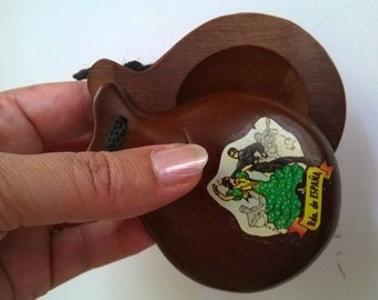 Castanets, Vintage castanets, Castanets from Spain, Handmade Vintage castanets, Flamenko castanets, Musical Instrument,  Original castanets