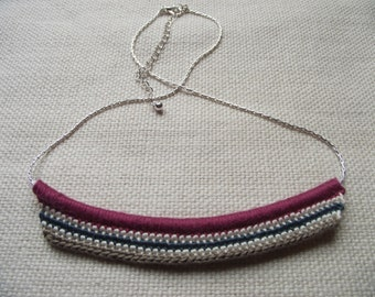 Crocheted Multicoloured Necklace with Silver-tone Boston Link Chain