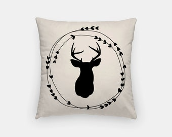 Deer Wreath White Throw Pillow Cover