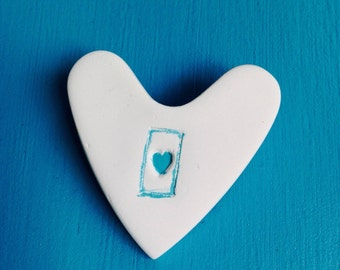 Porcelain HeArt Brooch, Turquoise HeArt, Pin