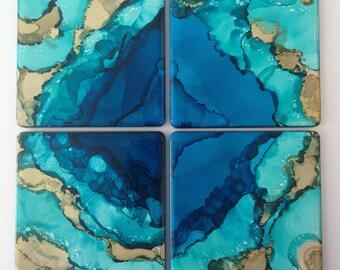 Handmade Barrier reef ocean ceramic coasters