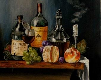 Wine still life acrylic painting