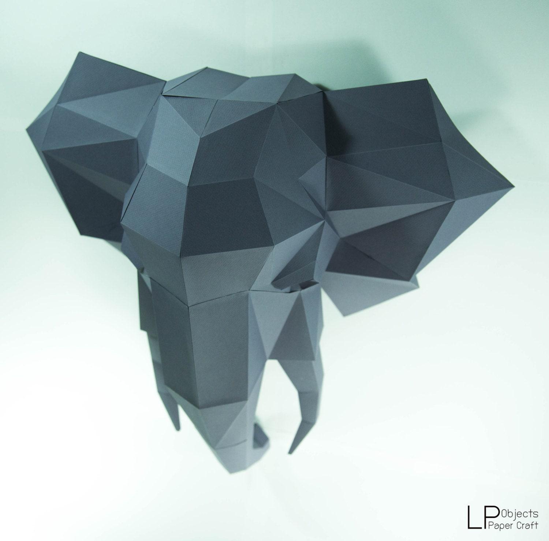 Elephant headelephant paper elephant lowpoly paper trophy this is a digital file jeuxipadfo Choice Image