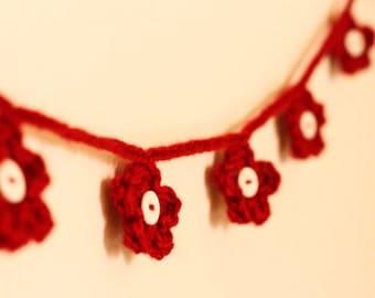 Red Crochet Flower Bunting Garland