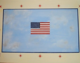 Canvas Floorcloth - Flag design