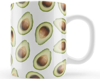 Avocado Mug, Avocado pattern present gift UK, fruit patterened unique mug, present, modern food pattern gift, Avocado lovers gift