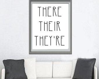 Grammar Art Print, There Their They're, Spelling Grammar, Funny Quote, Printable 8x10, Funny Art Print, nerd print, geek art print