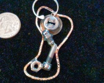 recycled car parts pendant