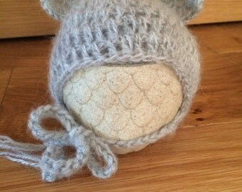 Teddy hat bonnet in your choice of colour newborn photography prop mohair yarn