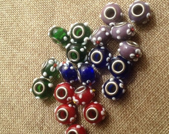 lot of 5 colored glass charms