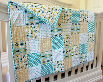 The Geo Quilt, Crib quilt, nursery, bedding, teal, green, blue, turquoise, yellow, hexagon, aztec, triangle quilt, gender neutral,baby boy