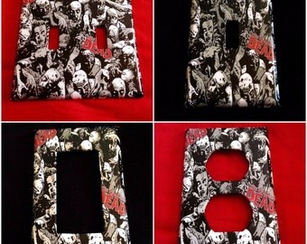 Walking Dead Zombie Single or Double Outlet,Toggle & Rocker light switch covers