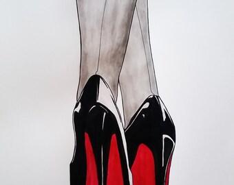 Pen & Ink, Fashion Illustration, Ink Drawing, Christian Louboutin drawing, fashion, heels drawing, high fashion, fashion drawing, ink