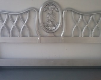 French Provincial King Size Headboard Silver Metallic
