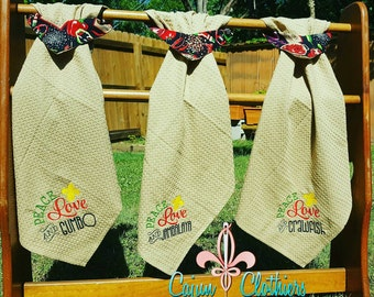 Peace Love Jambalaya embroidered kitchen towel - Cajun kitchen towel - custom towel - Jambalaya  kitchen towel