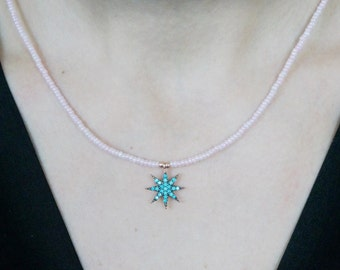 Necklaces-pole star necklace-rose gold turquoise-north pole-pink natural stone-beaded necklace-925 silver -mother's day