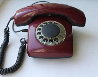 Soviet phone. Desk phone. rotary phone. Disk phone. Cherry phone. Vintage phone USSR.