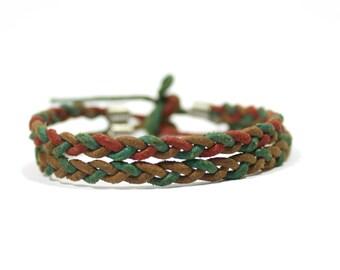 Leather bracelet  -- braided wrap bracelet -- ethno boho medieval