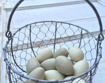 Chicken Wire Egg Basket w/ Wooden Eggs