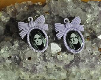 Gloria Steinem Feminist Earrings-Resin Bow Setting