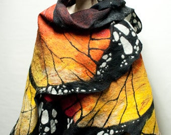 Nuno felted butterfly shawl